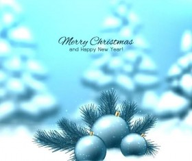 Christmas with new year and winter background vector