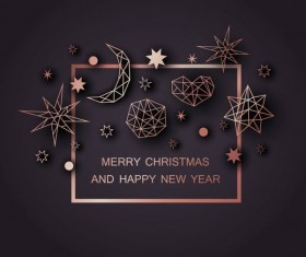 Christmas with new year background and geometric shape decor vector