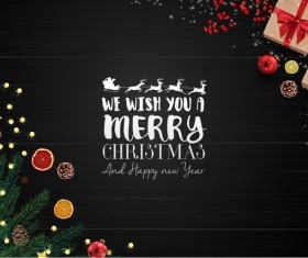 Christmas with new year black background and decor vector