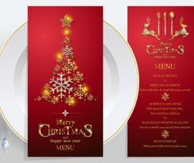 Christmas with new year red menu template vector 01