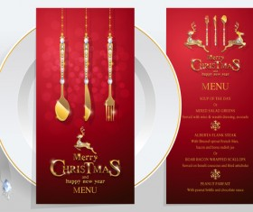 Christmas with new year red menu template vector 02