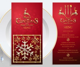 Christmas with new year red menu template vector 03