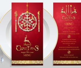 Christmas with new year red menu template vector 04