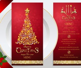Christmas with new year red menu template vector 05