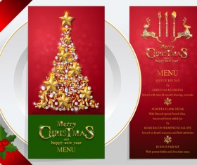 Christmas with new year red menu template vector 06