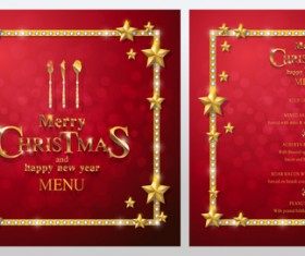 Christmas with new year red menu template vector 08