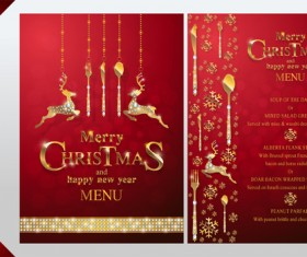 Christmas with new year red menu template vector 09