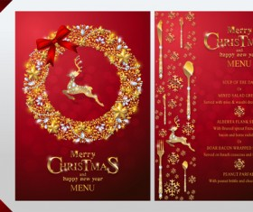 Christmas with new year red menu template vector 10