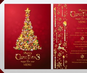 Christmas with new year red menu template vector 11
