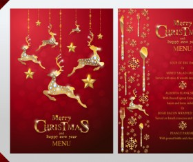 Christmas with new year red menu template vector 12
