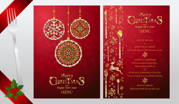 christmas with new year red menu template vector 13