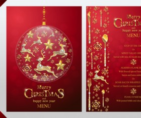 Christmas with new year red menu template vector 14