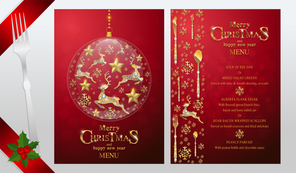 christmas with new year red menu template vector 14 free download