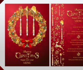 Christmas with new year red menu template vector 15
