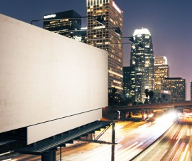 City night street billboard Stock Photo