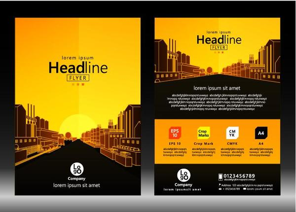 City styles brochure cover template vector