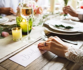 Closeup of luxury dinner atmosphere Stock Photo
