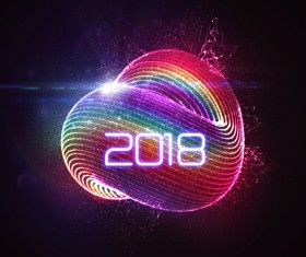 Colored abstract 2018 new year background vector