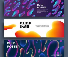 Colored shapes banners vector