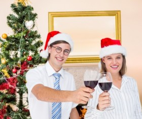 Couples celebrate Christmas Stock Photo