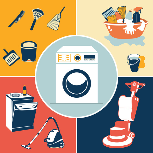 Creative cleaning icons