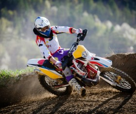 Cross-country motorcycle race Stock Photo 01