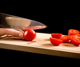 Cut tomatoes Stock Photo