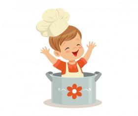 Cute baby chef vector