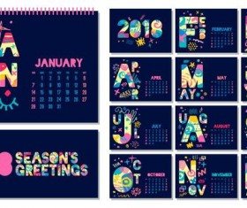 Cute blue desk 2018 calendar template vector