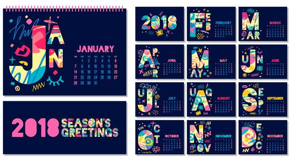 Cute Blue Desk  Calendar Template Vector  Vector Calendar Free