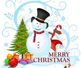 Cute cartoon christmas card vector template 01