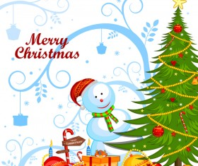 Cute cartoon christmas card vector template 06