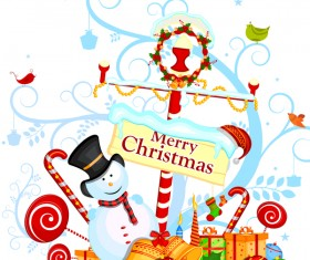 Cute cartoon christmas card vector template 10