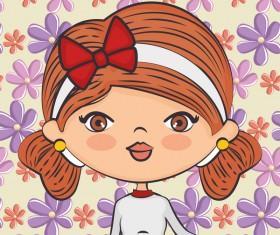 Cute cartoon girls with flower seamless pattern vector