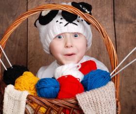 Cute little boy wearing knit hat Stock Photo