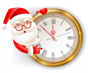 Cute santa with clock vector illustration 01