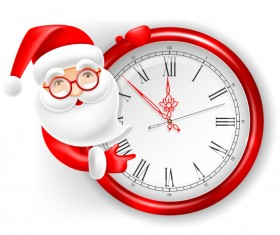 Cute santa with clock vector illustration 02