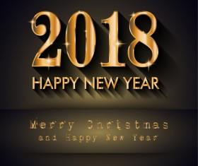 Dark 2018 new year with christmas background vector