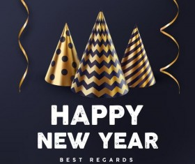 Dark blue new year background with gold decor vector
