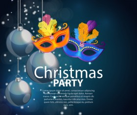 Dark color christmas party poster template vector