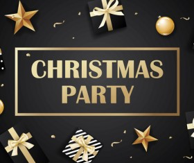Dark styles christmas party vector template
