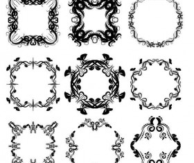 Decor floral frames vector set