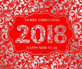 Decor pattern with 2018 new year design vector