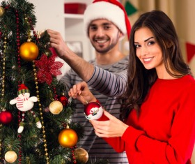 Decorated Christmas tree couple Stock Photo 01