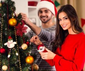 Decorated Christmas tree couple Stock Photo 01