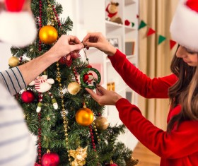 Decorated Christmas tree couple Stock Photo 02