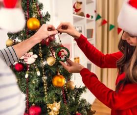 Decorated Christmas tree couple Stock Photo 02