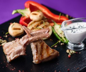 Delicious dishes and sauces Stock Photo 04