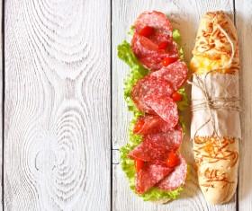 Delicious sausage sandwich Stock Photo 01