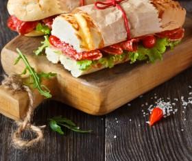 Delicious sausage sandwich Stock Photo 02